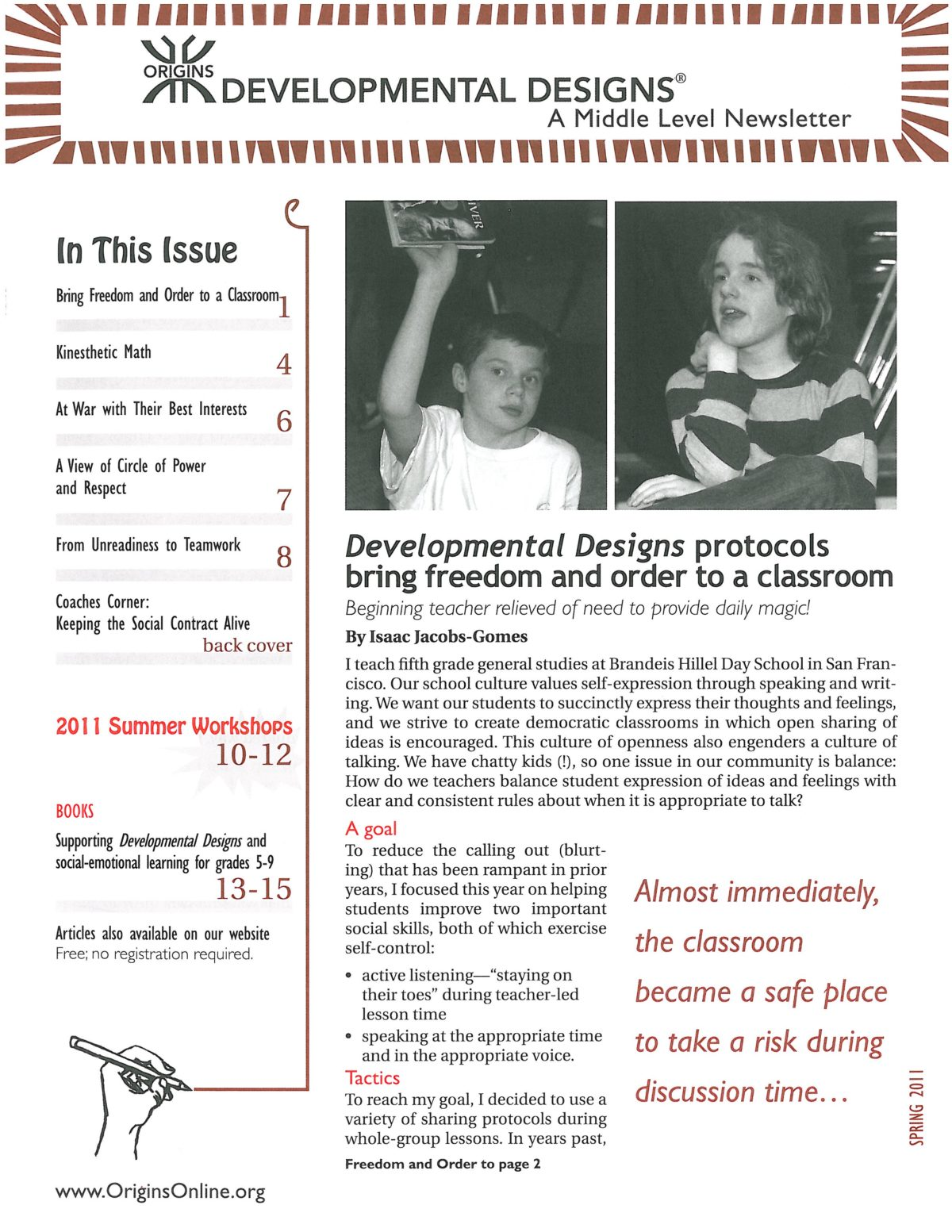Developmental Designs Newsletter, Spring 2011