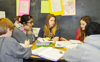 Middle-level student working together