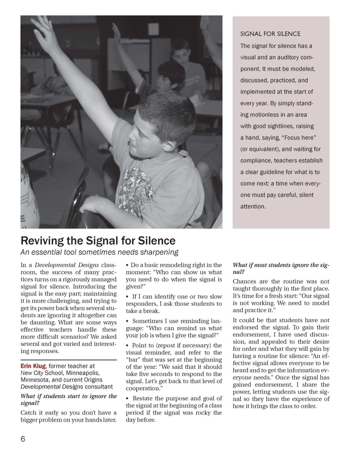DD Newsletter Winter 2012, Signal for Attention